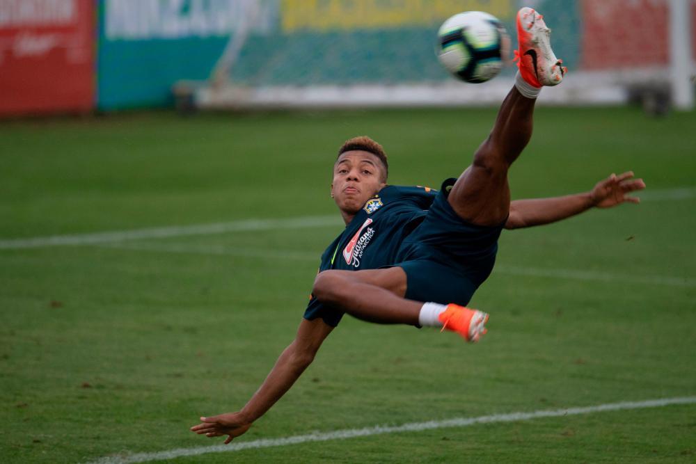 Brazil's David Neres, here scoring during training, got his first international goal against Honduras.