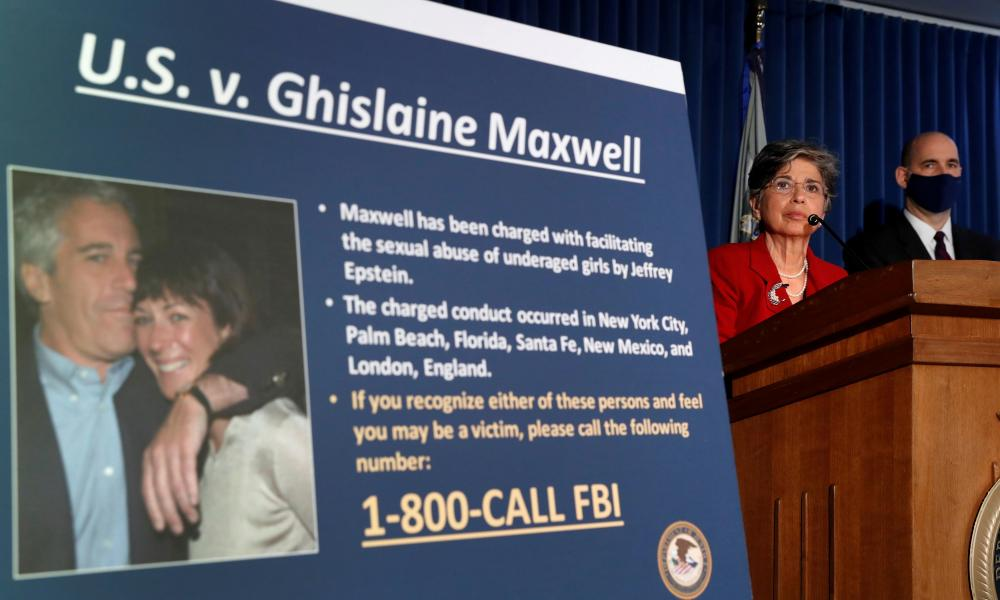 Audrey Strauss, Acting United States Attorney for the Southern District of New York announces charges against Ghislaine Maxwel in New York last week. Her former boss, Geoffrey Berman, whom Donald Trump fired last week, led the investigation of Jeffrey Epstein and the financier was awaiting trial in New York last summer when he killed himself in prison.Picture here shows Epstein and Maxwell on poster outlining charges against Maxwell.