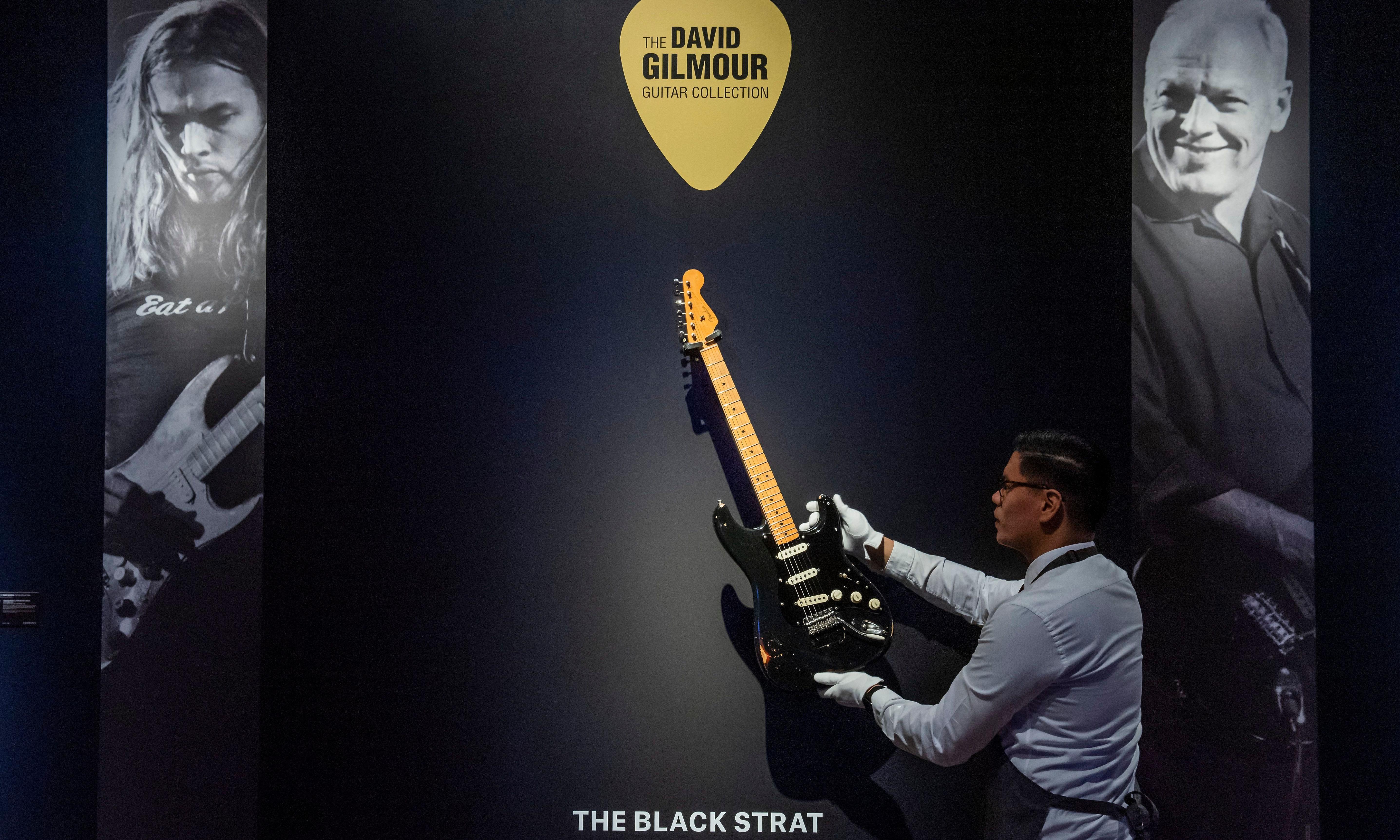 Comfortably strum: David Gilmour's Black Strat goes on display