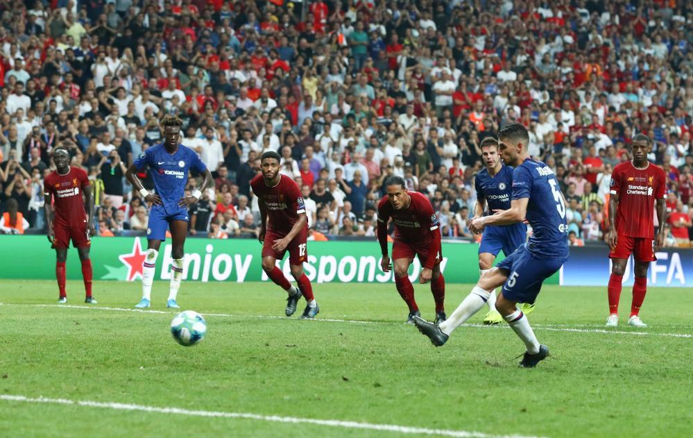 Jorginho scores from the penalty spot.