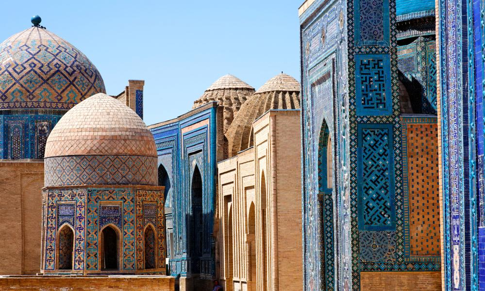 The gilded domes of Samarkand in Uzbekistan