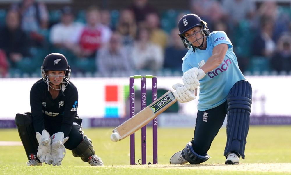 England's Katherine Brunt strikes the ball.
