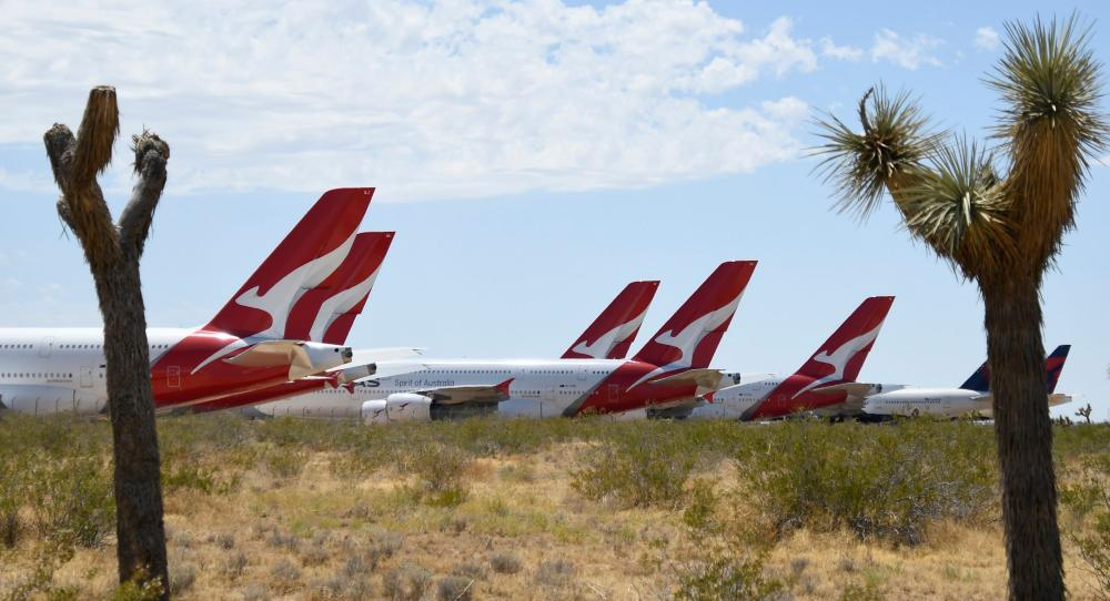 Airbus A380 planes in storage in Victorville, California in August 2020.