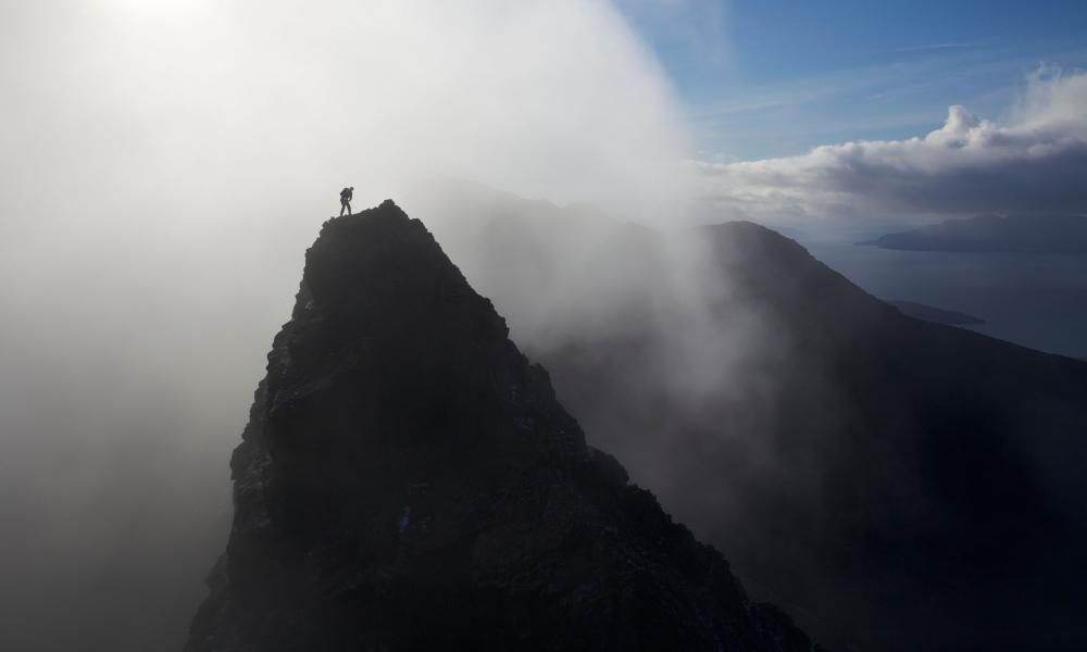 'I took a small step to the left. And then everything went wrong' … a climber summits a pinnacle in the legendary Scottish mountain range, which is the subject of The Black Ridge.