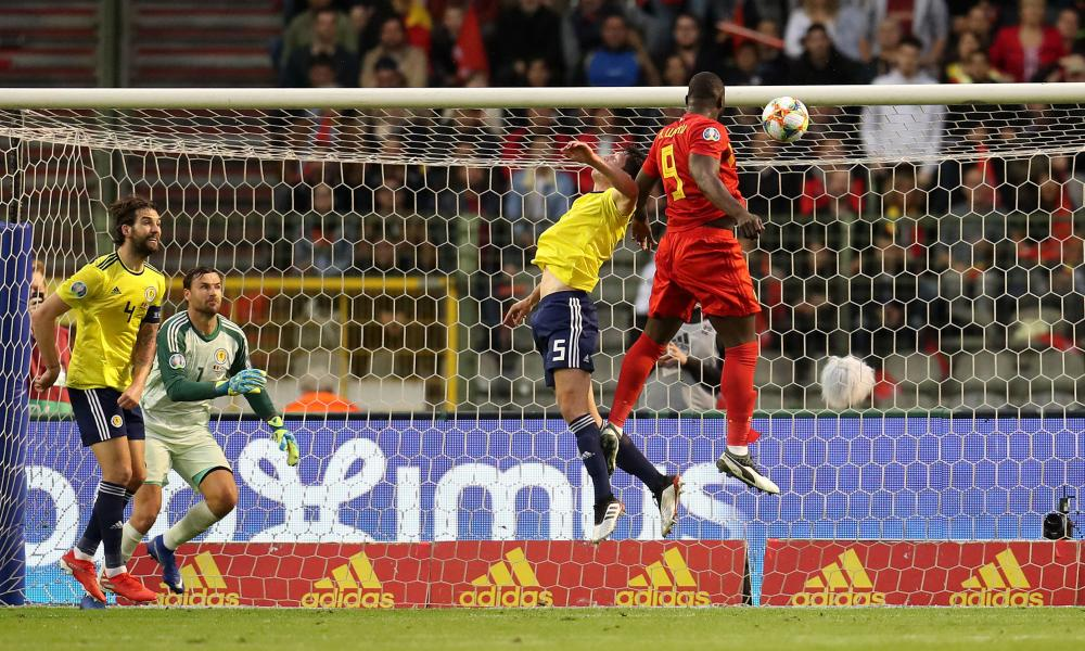 Belgium's Romelu Lukaku scores his side's first goal of the game.