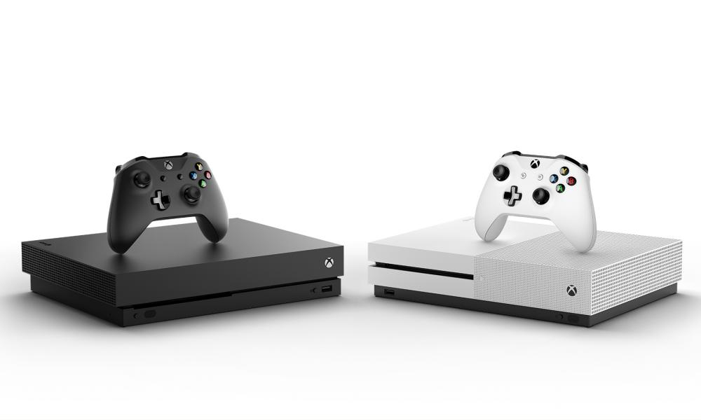 Xbox One X in black and white.