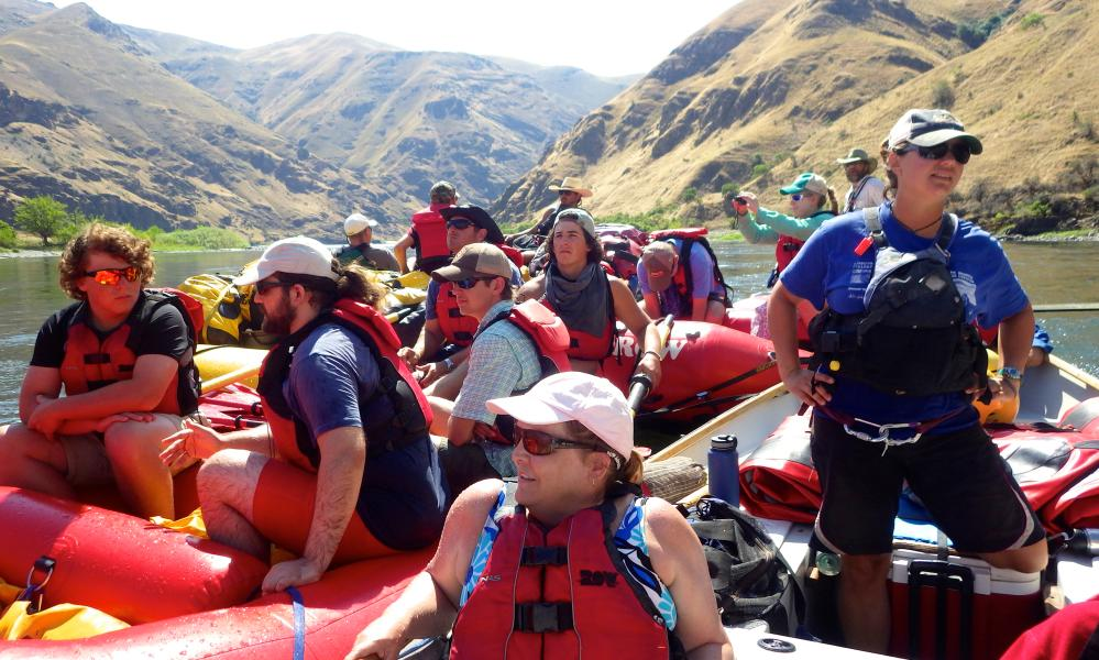 the ROW Adventures's group take a rest stop during their rafting along Hells Canyon, US