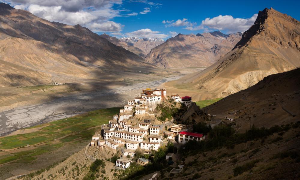 Monastery on a hillside, Himachal Pradesh, India.
