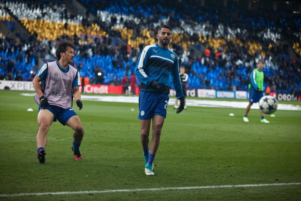 Leicester City's Shinji Okazaki and Riyad Mahrez warm up before the match. Both start tonight.
