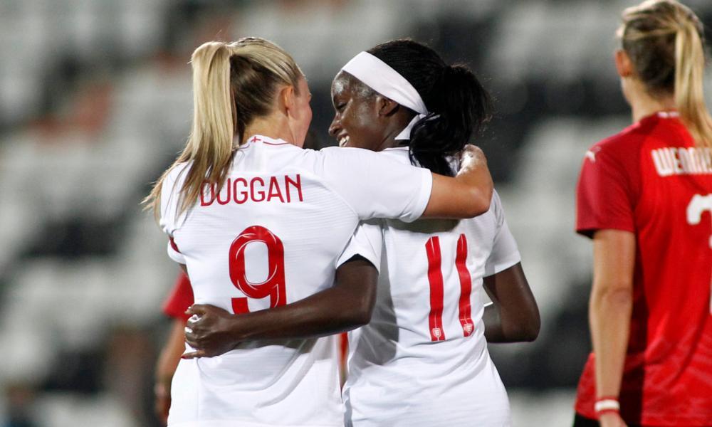 Chioma Ubogagu celebrates her goal with Toni Duggan.