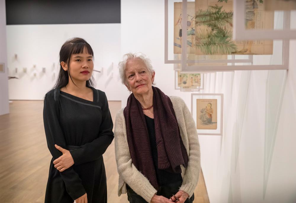 Vietnam's Thao-Nguyen Phan shows her work to mentor Joan Jonas.