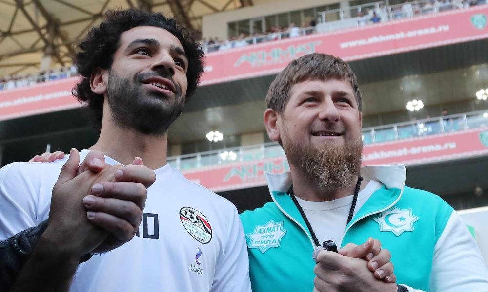 Mohamed Salah poses with the Chechen leader Ramzan Kadyrov in Grozny.