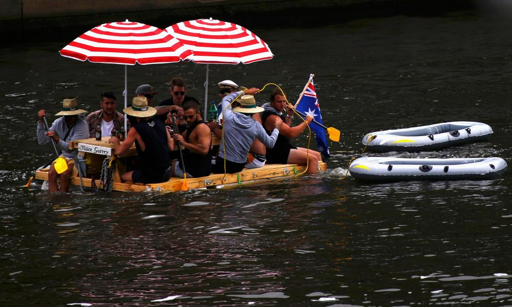 Picture of group on makeshift raft.