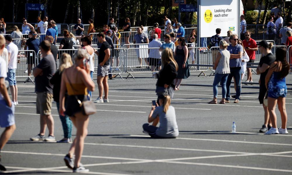 Customers queue at Ikea in Warrington