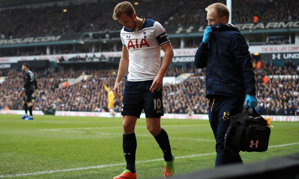 A sad sight for Tottenham and England fans as Harry Kane limps off.