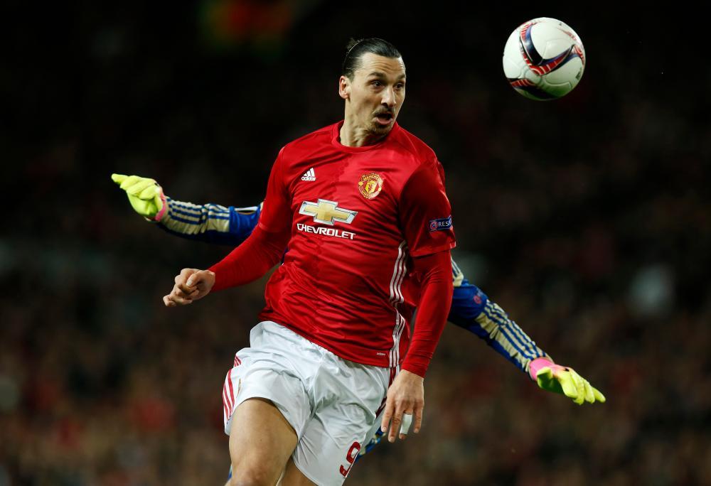 Manchester United's Zlatan Ibrahimovic goes past Rostov's Nikita Medvedev.