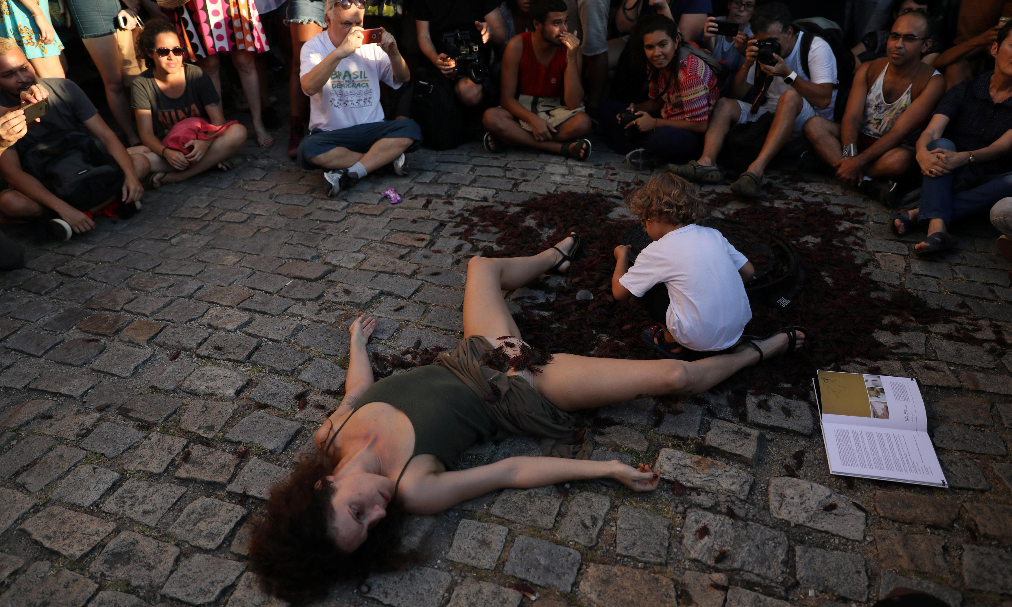 Rio artists stage show on street in protest against censorship