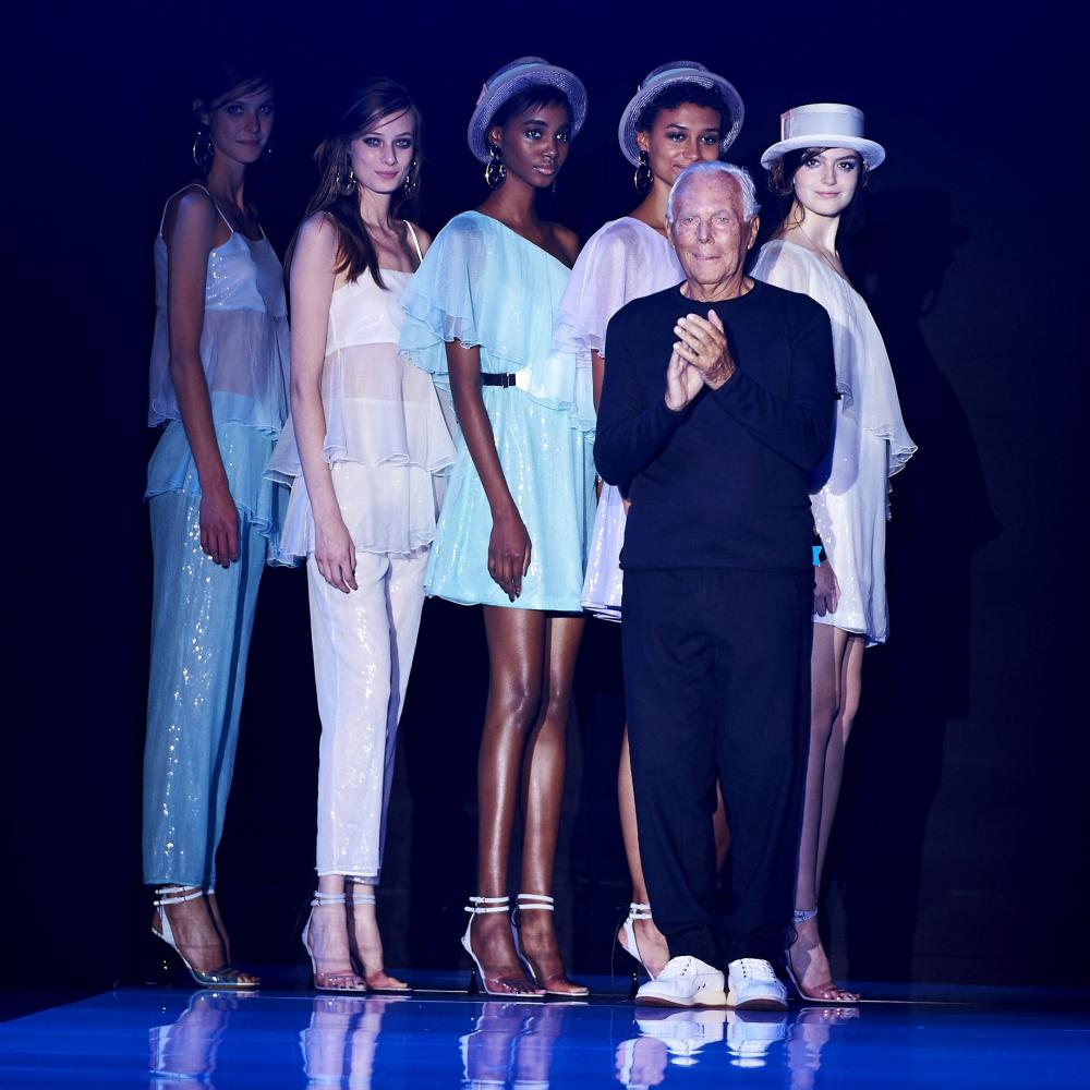 Giorgio Armani takes to the stage after the fashion house Emporio Armani