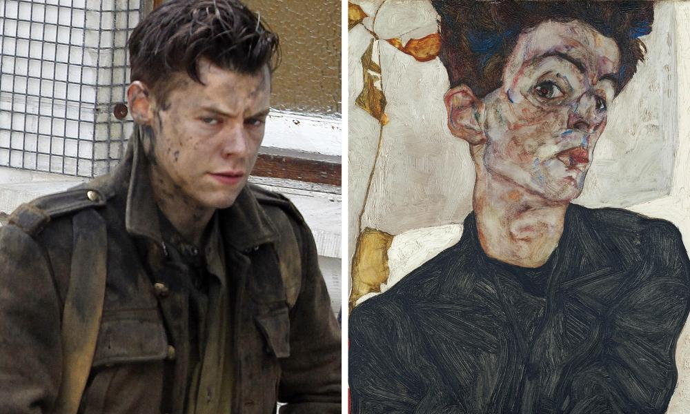 Harry Styles and Egon Schiele's Self-Portrait with Physalis, 1912.