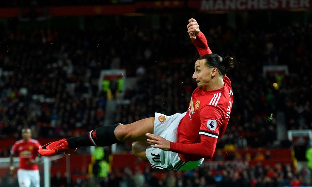 Zlatan Ibrahimovic unleashes a bicycle kick which was saved by Rob Elliot.