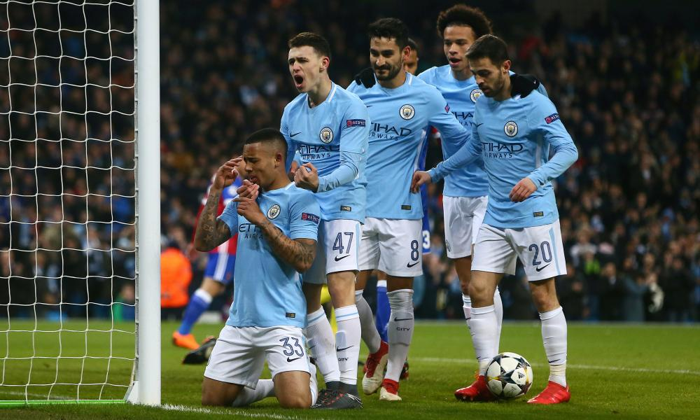 Gabriel Jesus of Manchester City celebrates scoring the opening goal.