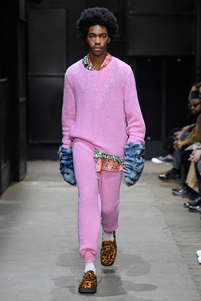 Pink knits on a model on the Marni catwalk in Milan.