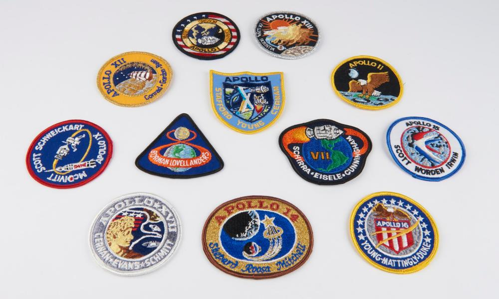 Set of 12 mission patches from Apollo One to Apollo 17.