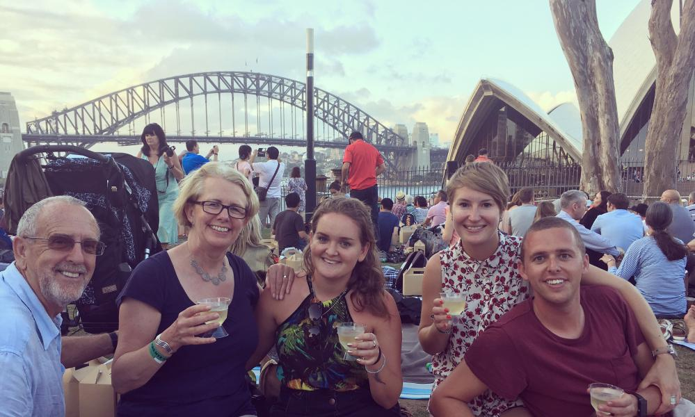 The Longvilles from London enjoying New Year's Eve in Sydney.