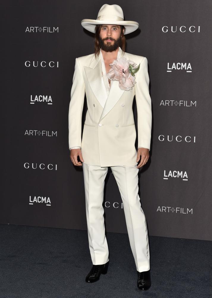 Jared Leto in a white tuxedo