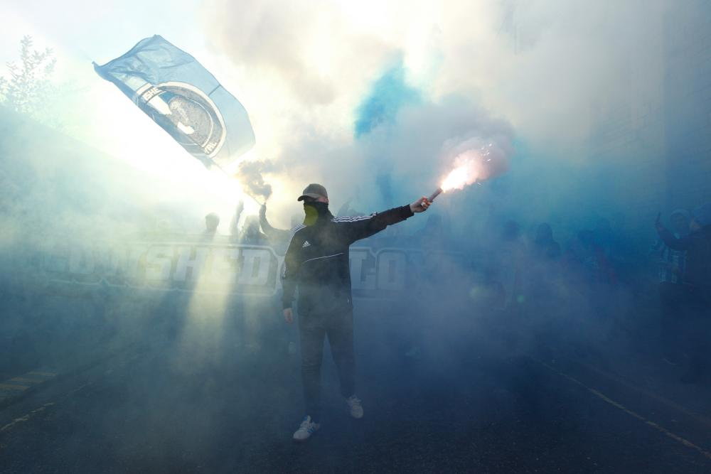 October 20: Huddersfield Town fans before the Premier League match between Huddersfield Town and Liverpool FC at John Smith's Stadium.