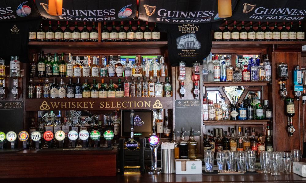 Behind the bar at the Trinity Bar in Dublin.