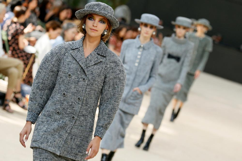 Voluminous tweed coats formed part of the new Chanel silhouette.