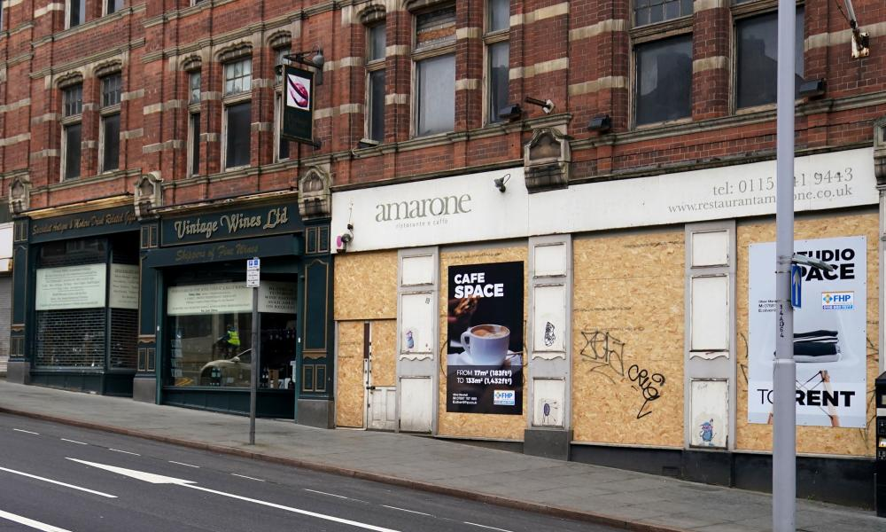Boarded-up shops in Nottingham, February 2021.