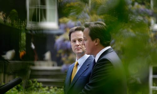 David Cameron and Nick Clegg holding their first joint news conference in May 2010.