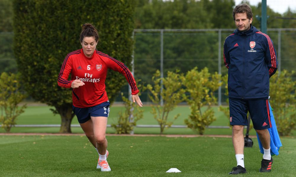 Joe Montemurro watches training at London Colney this week. The Arsenal manager believes Fiorentina are favourites for the knockout phase Champions League tie.