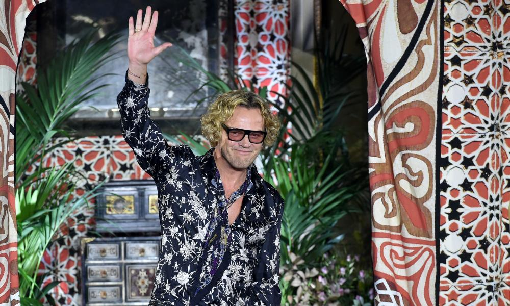 Designer Peter Dundas at the end of what proved to be his final show for Roberto Cavalli.