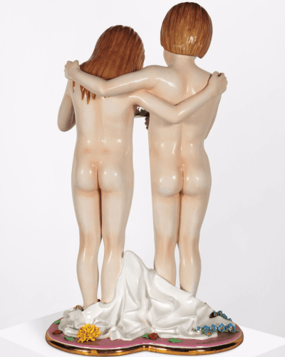 Rear view of Naked (1988) by Jeff Koons.