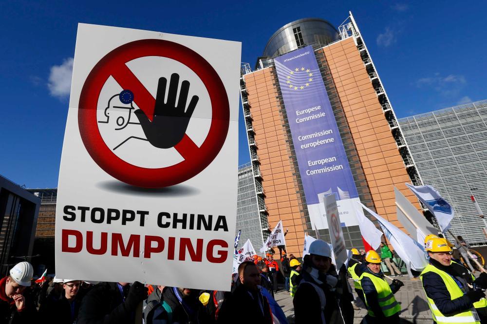 European steel workers protest.