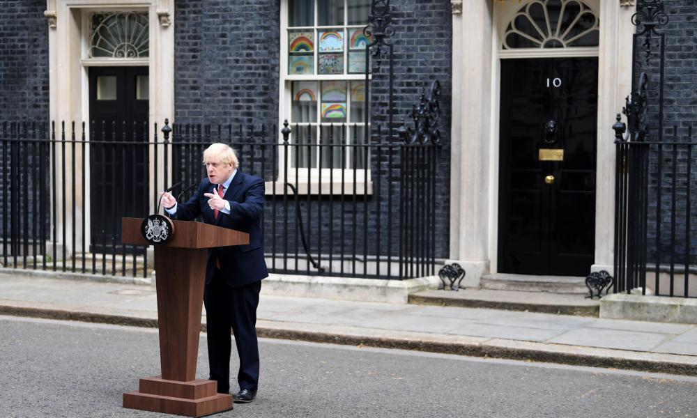 Boris Johnson speaking outside No 10 this morning.