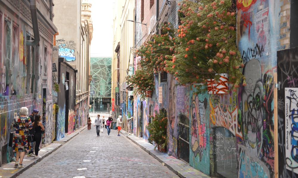 Decorations of living trees and flowers are placed on streets, entrances of buildings and squares to support businesses and to attract people back to the city, on 17 November 2020 in Melbourne, Australia.
