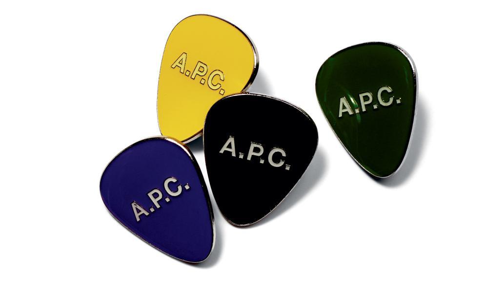 APC's guitar pick pin badges