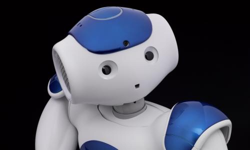 Nao V5 Evolution humanoid robot, created by Aldebaran Robotics, France, c.2016