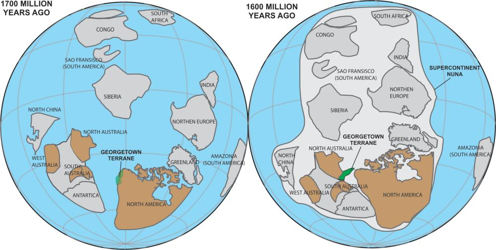 The Georgetown terrane of present-day northern Queensland was originally part of North America some 1,7bn years ago.