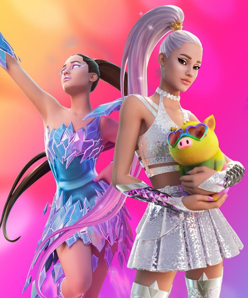Ariana Grande avatars appearing in Fortnite.