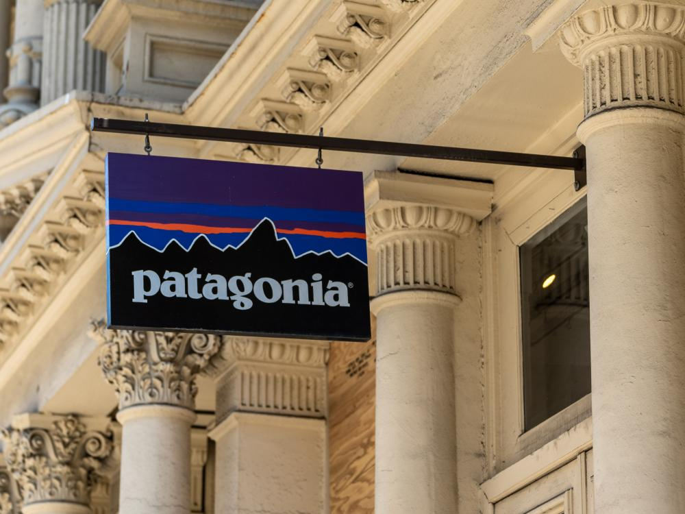 A sign outside a Patagonia store.