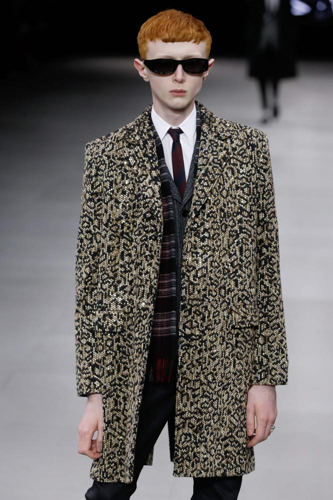An animal-print coat at the Céline ready to wear show in Paris.
