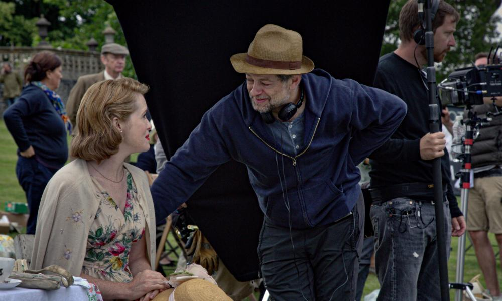 Serkis with Claire Foy on the set of Breathe.