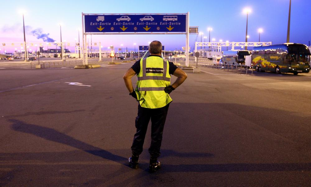 UK Border Agency staff at the ferry port in Calais, France.