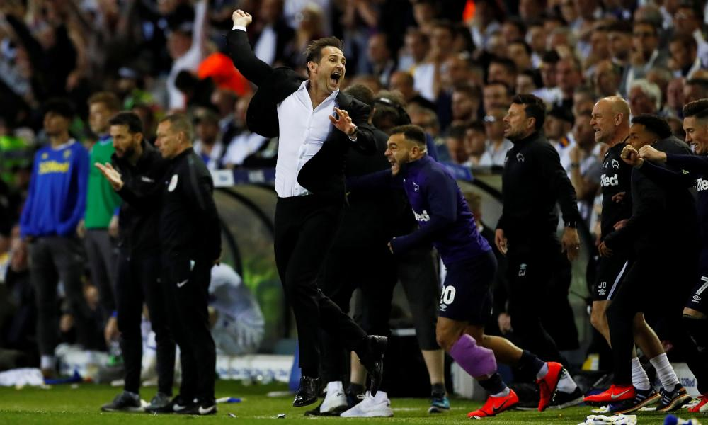 Derby County manager Frank Lampard celebrates after the final whistle.