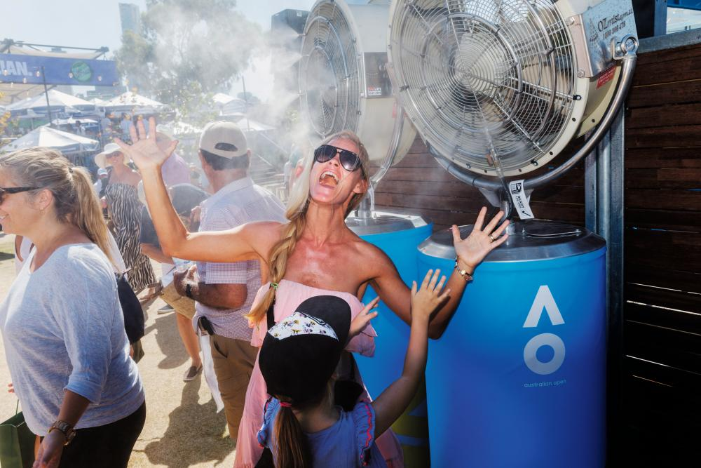Melbourne meltdown … a spectator cools down at the 2018 Australian Open, as featured in Martin Parr's book Match Point